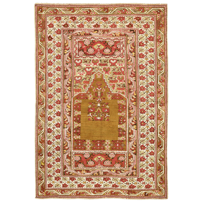 Antique Turkish Beige & Red Wool Ghiordes Rug, 1880-1900
