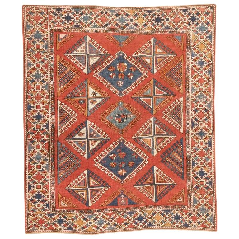 Antique Turkish Bergama Rug. Size: 5 ft 10 in x 6 ft 10 in (1.78 m x 2.08 m) For Sale