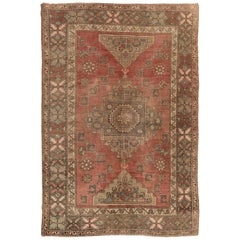 Antique Turkish Bergama Rug, One of a Kind Wool Carpet, circaa 1920