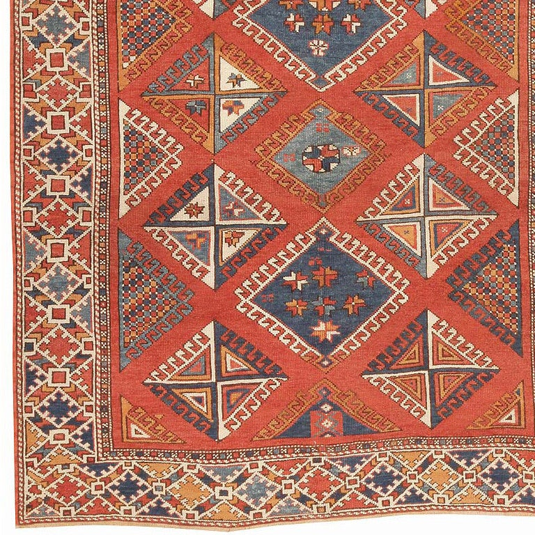 Antique Bergama Rug, Origin: Turkey, Circa: 19th Century. Size: 5 ft 10 in x 6 ft 10 in (1.78 m x 2.08 m)  A design of diamond medallions with latch-hook contours repeats in allover symmetry on this outstanding antique Bergama. The medallions