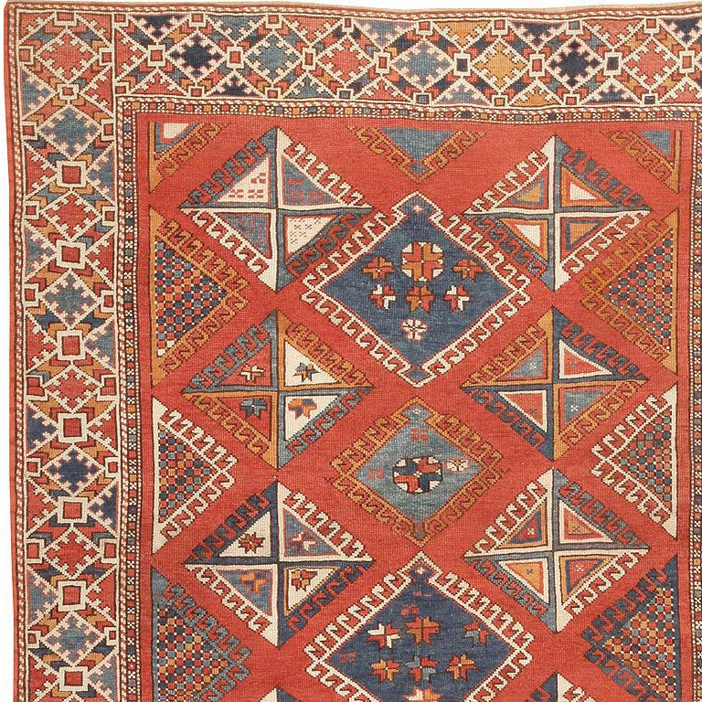 Hand-Knotted Antique Turkish Bergama Rug. Size: 5 ft 10 in x 6 ft 10 in (1.78 m x 2.08 m) For Sale