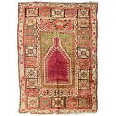 Antique Turkish Carpet from Turkey with a Prayer Design and Geometric Motif