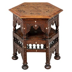 Antique Turkish Carved and Inlaid Side Table