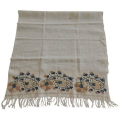 Antique Turkish Embroidered Green and Gold Textile