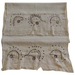 Antique Turkish Embroidered Purple and Gold Textile
