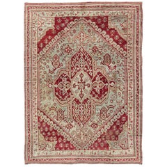 Antique Turkish Ghiordes Geometric Rug in Raspberry Red and Ice Blue and Green