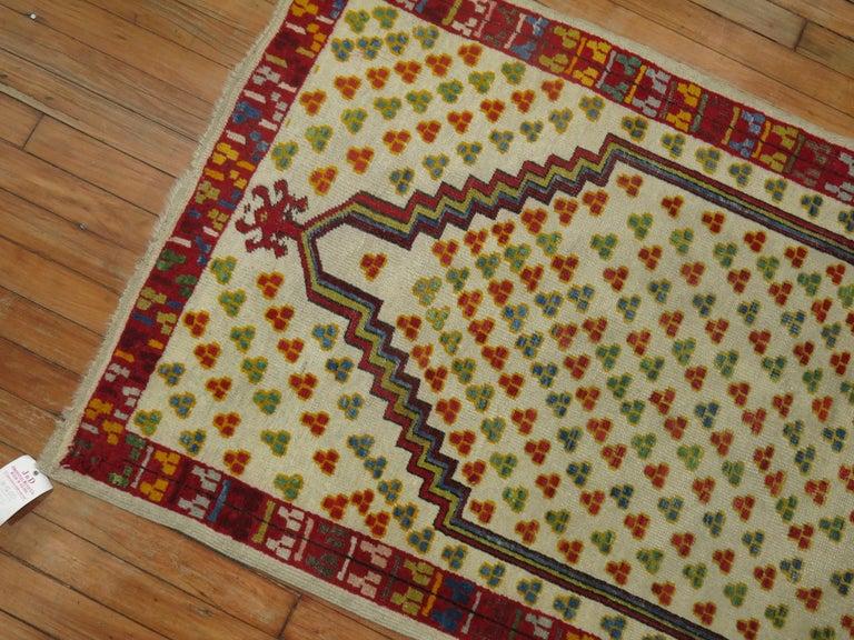 Wool Antique Turkish Ghiordes Prayer Rug For Sale