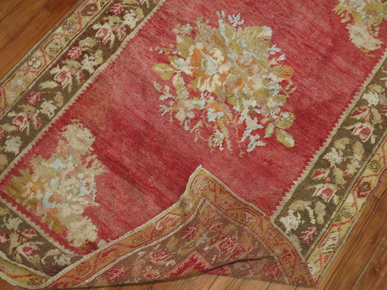 Romantic Antique Turkish Ghiordes Rug For Sale