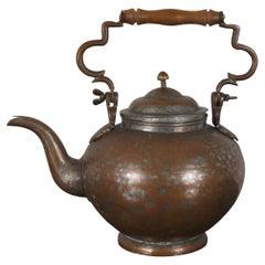 Antique Turkish Hammered Copper Gooseneck Tea Kettle Coffee Pot