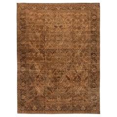 Antique Turkish Hereke Camel and Dark Brown Handwoven Wool Carpet