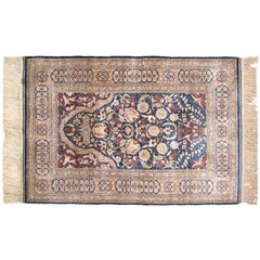 Antique Turkish Hereke Oriental Rug with Weaver's Mark, in Small Size, Silk Pile