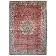 Antique Turkish Hereke Pure Silk Rug, Florar Pink Background Floor Luxury Rug