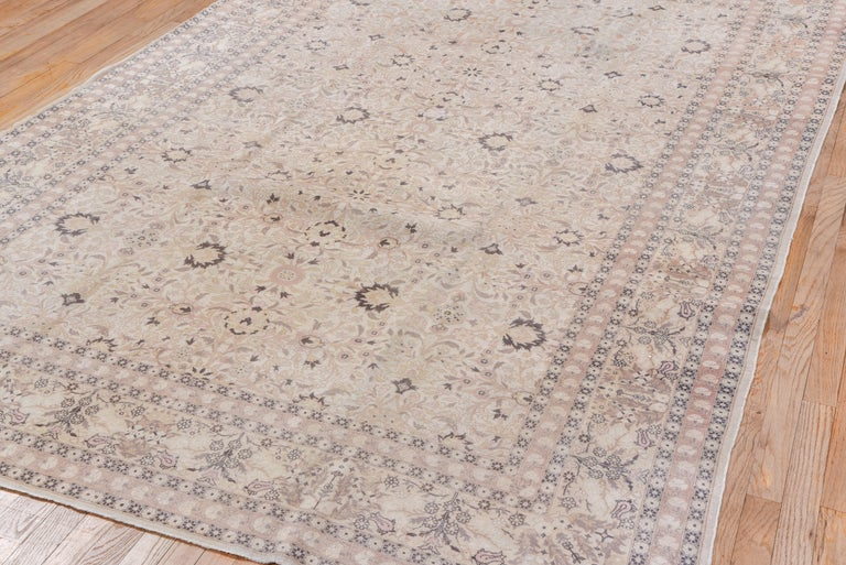 Antique Turkish Hereke Rug, Ivory Field, Pink & Navy Accents, Circa 1930s In Good Condition For Sale In New York, NY