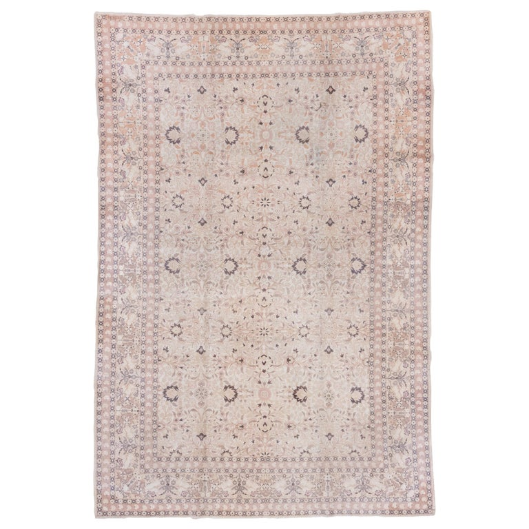 Antique Turkish Hereke Rug, Ivory Field, Pink & Navy Accents, Circa 1930s For Sale