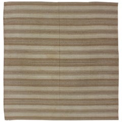 Antique Turkish Kilim Flat Weave Square-Shaped, in Taupe, Light Brown Stripes