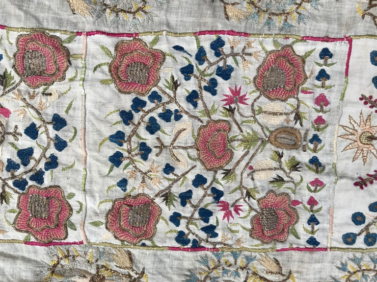 Nice antique Turkish Ottoman with silk and metal, beautiful patterns, entirely hand embroidered, late 19th century, good conditions.