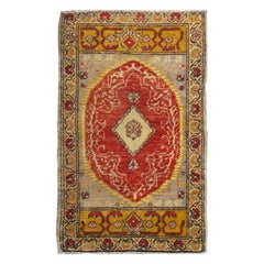 Antique Turkish Ottoman Rug with Medallion and Flowers in Yellow, Red, Gray