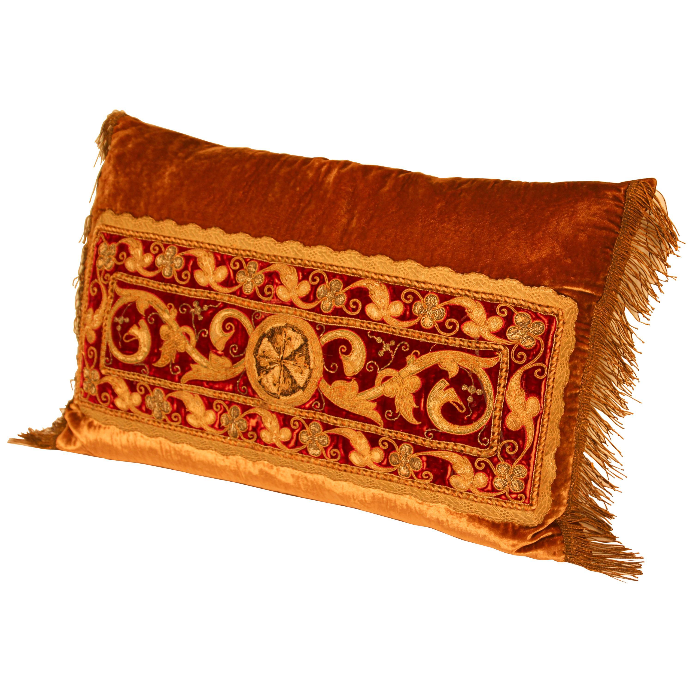 Antique Silk Turkish Pillow with Metallic Threads
