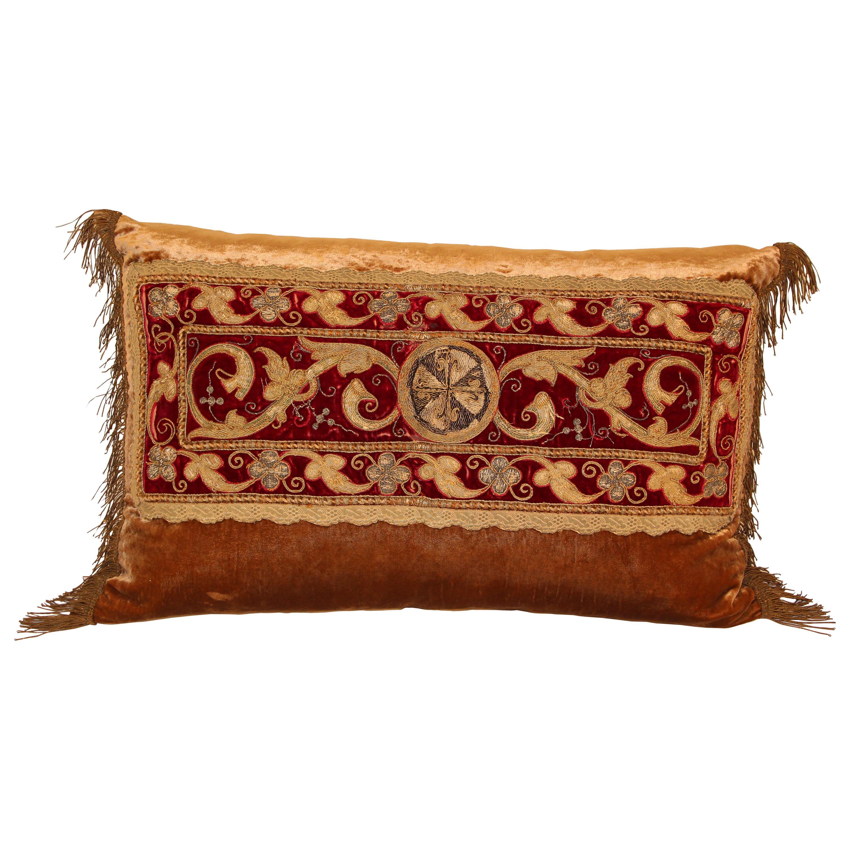 Antique Turkish Ottoman Silk Pillow with Metallic Threads