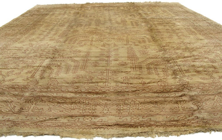 Antique Turkish Oushak Area Rug In Muted Colors With