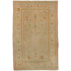 Antique Turkish Oushak Area Rug in Soft, Pastel Colors