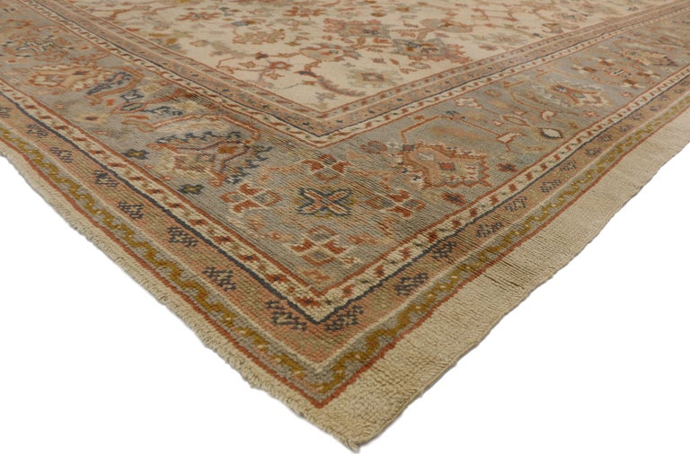 Antique Turkish Oushak Area Rug With French Provincial