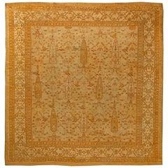 Antique Turkish Oushak Beige Handwoven Wool Rug