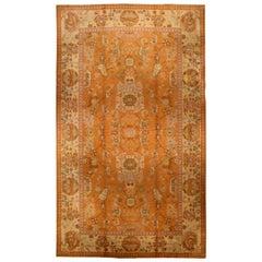 Antique Turkish Oushak Beige and Orange Handwoven Wool Rug