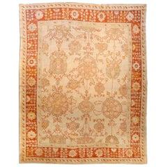 Antique Turkish Oushak Beige, Pastel Pink and Green Handwoven Wool Carpet