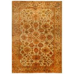 Antique Turkish Oushak Botanic Sand, Orange & Yellow Handwoven Wool Rug