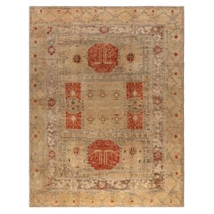 Antique Turkish Oushak Brown and Beige Handwoven Wool Rug