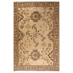 Antique Turkish Oushak Camel and Light Brown Handwoven Wool Rug