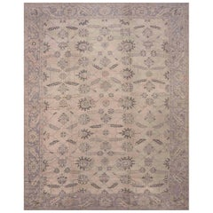 Antique Turkish Oushak Camel and Taupe Handwoven Wool Carpet