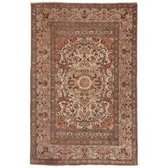 Antique Turkish Oushak Carpet, Brown Borders, Ivory Field, Medallion