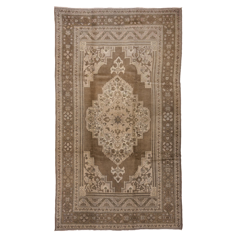 Antique Turkish Oushak Carpet, Brown Field, Circa 1940s