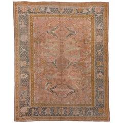 Antique Turkish Oushak Carpet, Pink Field, circa 1910s