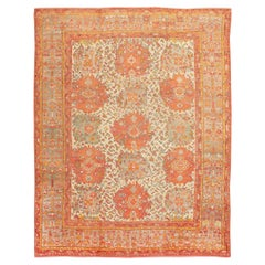Antique Turkish Oushak Carpet. Size: 12 ft x 16 ft (3.66 m x 4.88 m)