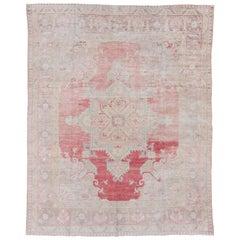 Antique Turkish Oushak Carpet, Soft Colors, Soft Red Field, circa 1920s