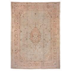 Antique Turkish Oushak Carpet, Soft Gray Field & Light Pink Borders, Circa 1920s