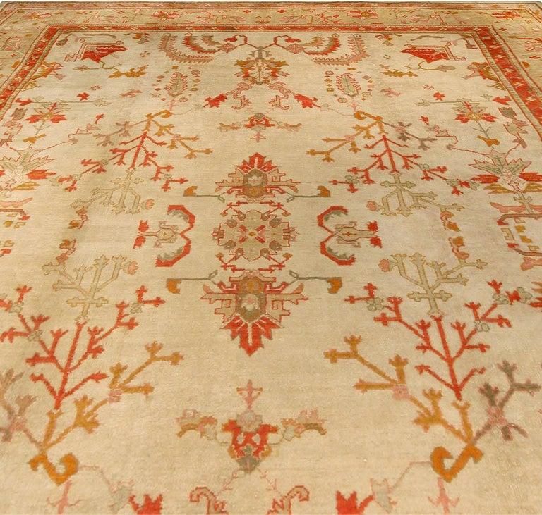 Antique Turkish Oushak cream, beige & apricot handwoven wool rug Size: 12'5
