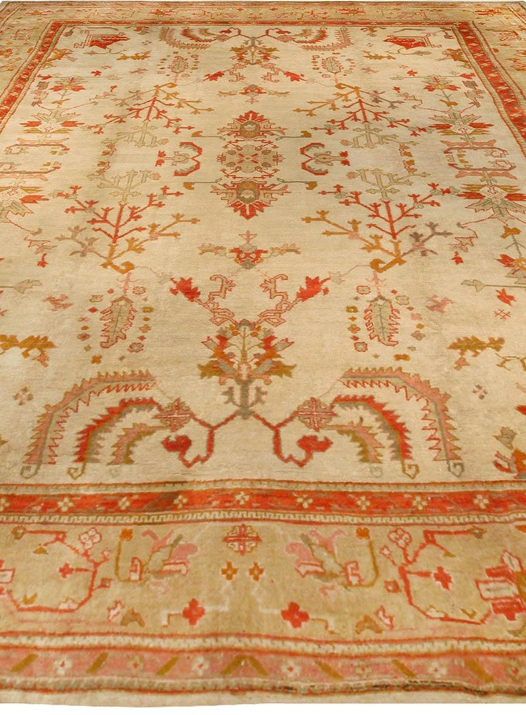 Hand-Knotted Antique Turkish Oushak Cream, Beige & Apricot Handwoven Wool Rug For Sale
