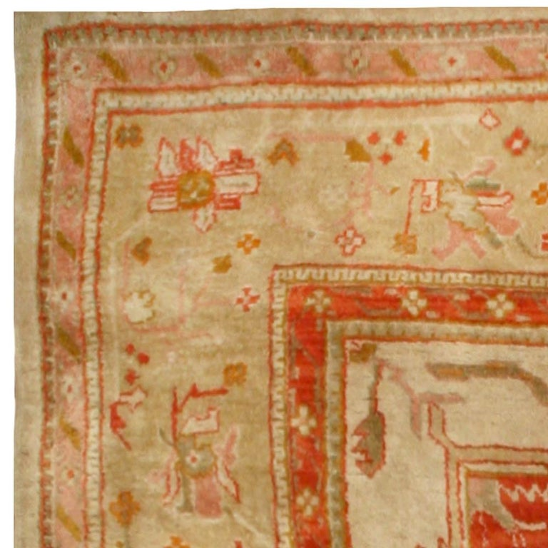 Antique Turkish Oushak Cream, Beige & Apricot Handwoven Wool Rug In Good Condition For Sale In New York, NY