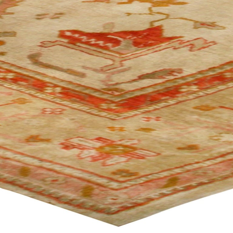 20th Century Antique Turkish Oushak Cream, Beige & Apricot Handwoven Wool Rug For Sale