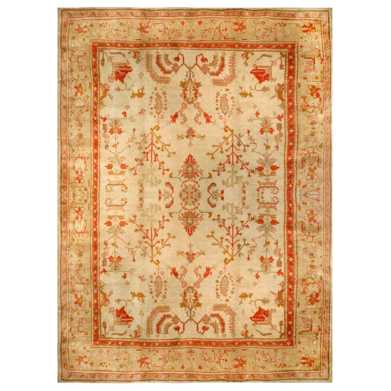 Antique Turkish Oushak Cream, Beige & Apricot Handwoven Wool Rug For Sale