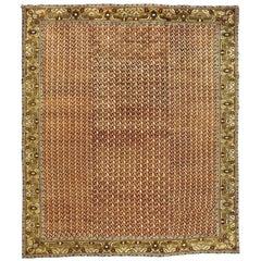Antique Turkish Oushak Crimson and Golden Yellow Handwoven Wool Carpet