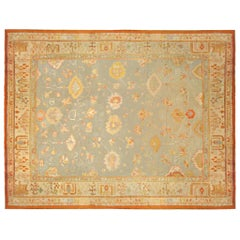 Antique Turkish Oushak Decorative Carpet, in Large Square Size with Soft Colors