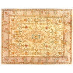 Antique Turkish Oushak Decorative Oriental Carpet, Large Size, with Ivory Field