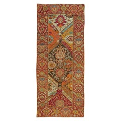 Antique Turkish Oushak Floral Yellow, Red, Blue and Green Handwoven Wool Rug