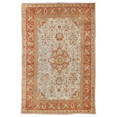 Antique Turkish Floral Oushak Rug in Cream,  Rust Red, Orange and Green