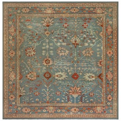 Antique Turkish Oushak Green, Orange and Pink Hand Knotted Wool Rug